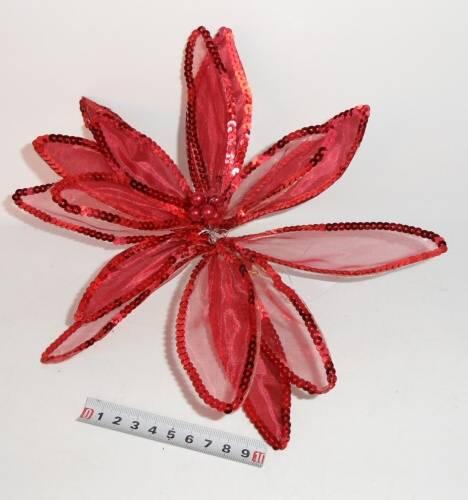 Květina s klipsem 20cm červená