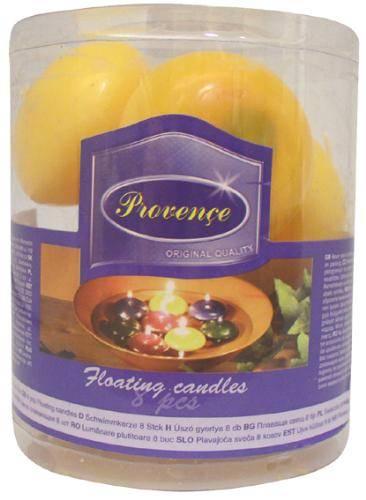Svíčka plovoucí set 8ks žlutá Provence