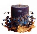 Svíčka dárková s dekorací a vůní borůvky, 7 x 9 cm