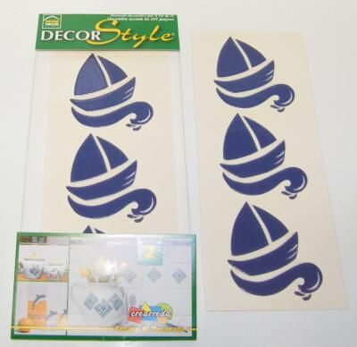 Samolepy dekor - modré - loďky