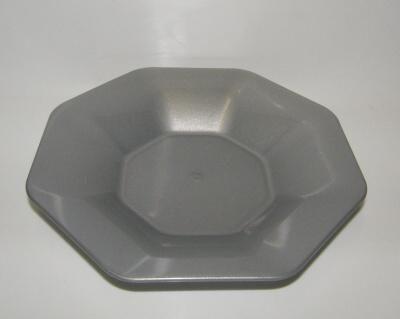 Talíř plast 8-hran 22cm - hluboký - stříbrný