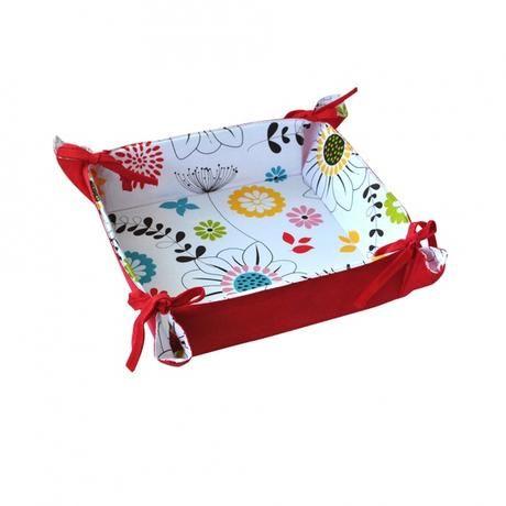 Košík na chléb, bavlna, motiv červené květy Toro