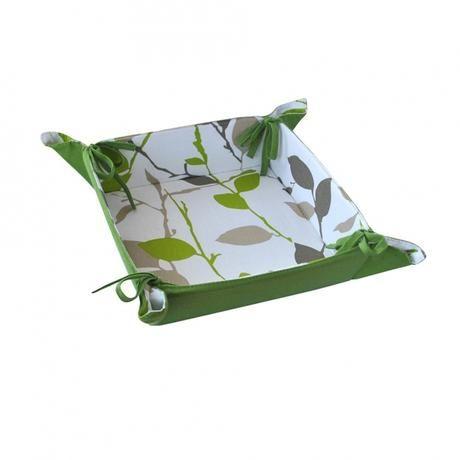 Košík na chléb, bavlna, motiv zelené květy Toro