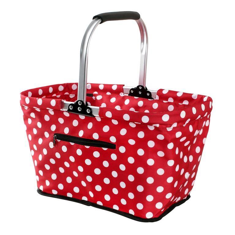 Nákupní košík skládací - červený, puntik Toro