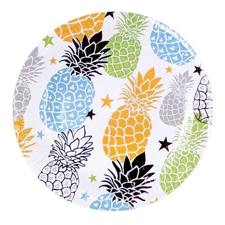 Papírový talíř s motivem ananas 20 cm 6 ks Toro