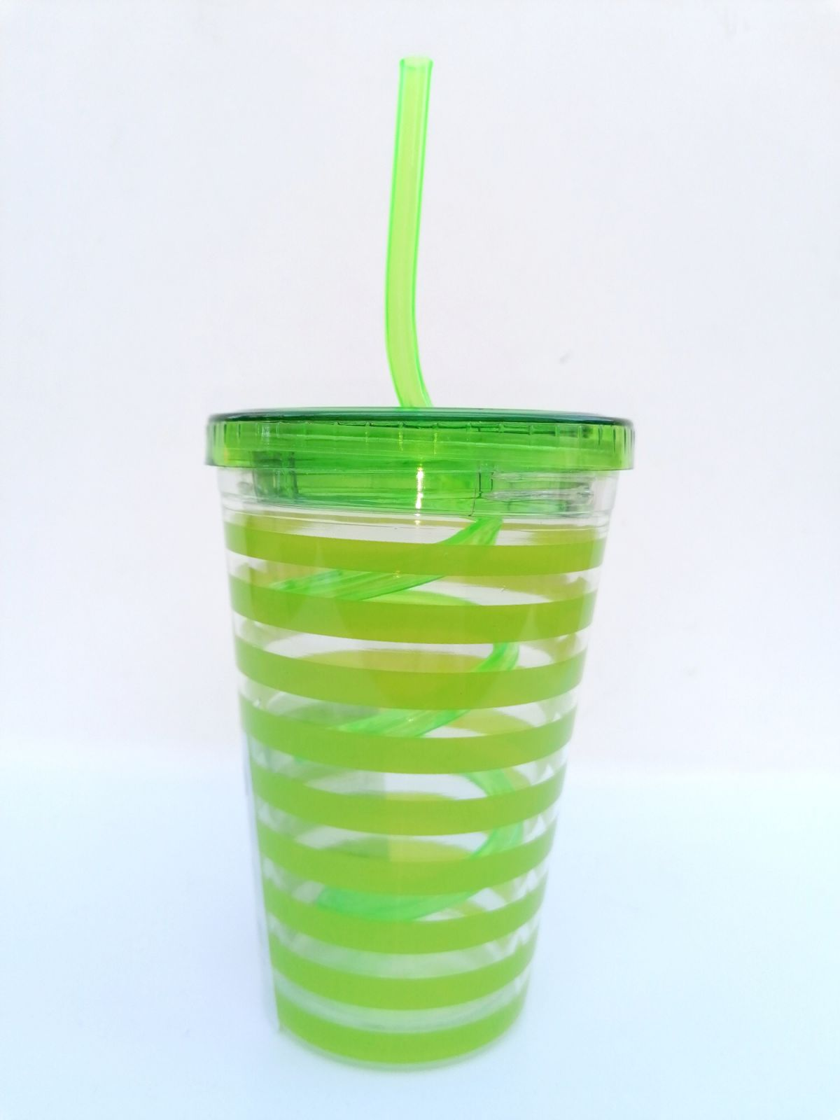 Plastový dvouplášťový kelímek s brčkem, 250 ml - zelený Toro