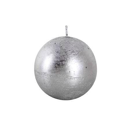 Svíčka rustikální, koule 8cm - stříbrná Provence