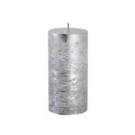 Svíčka rustikální, válec 6x12cm - stříbrná Provence