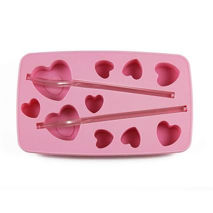 Forma silikon na led s brčkem, tvar srdce, růžová Toro
