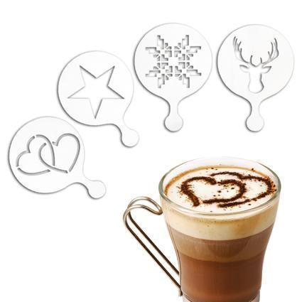 Šablona na zdobení kávy, 4ks plast, 7cm Toro