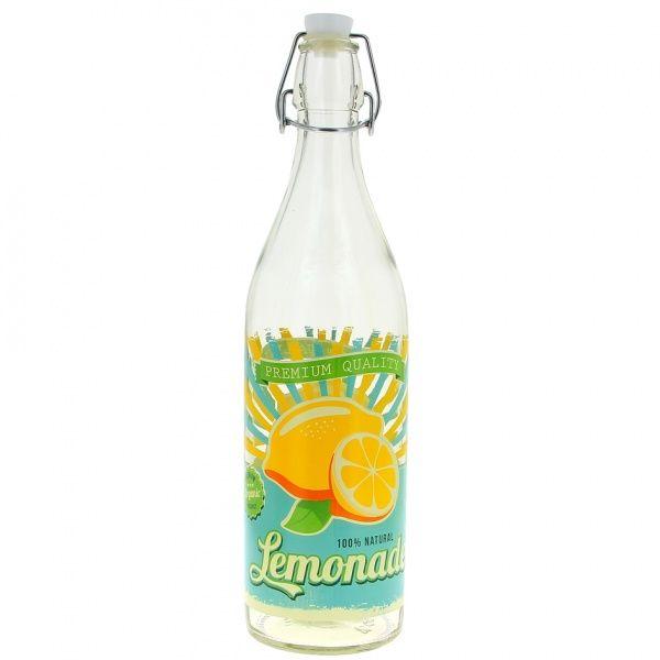 Skleněná láhev s patentním uzávěrem, 1l, citron CERVE