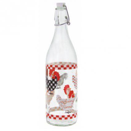 Skleněná láhev s patentním uzávěrem, 1l, slepičky CERVE