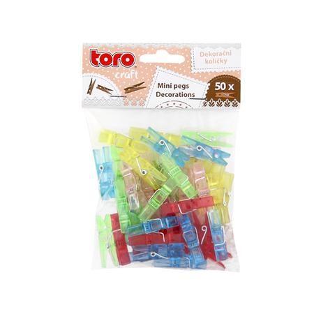 Plastové barevné dekorační kolíčky 50ks Toro