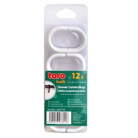Plastové náhradní háčky k závěsu do koupelny 12ks Toro