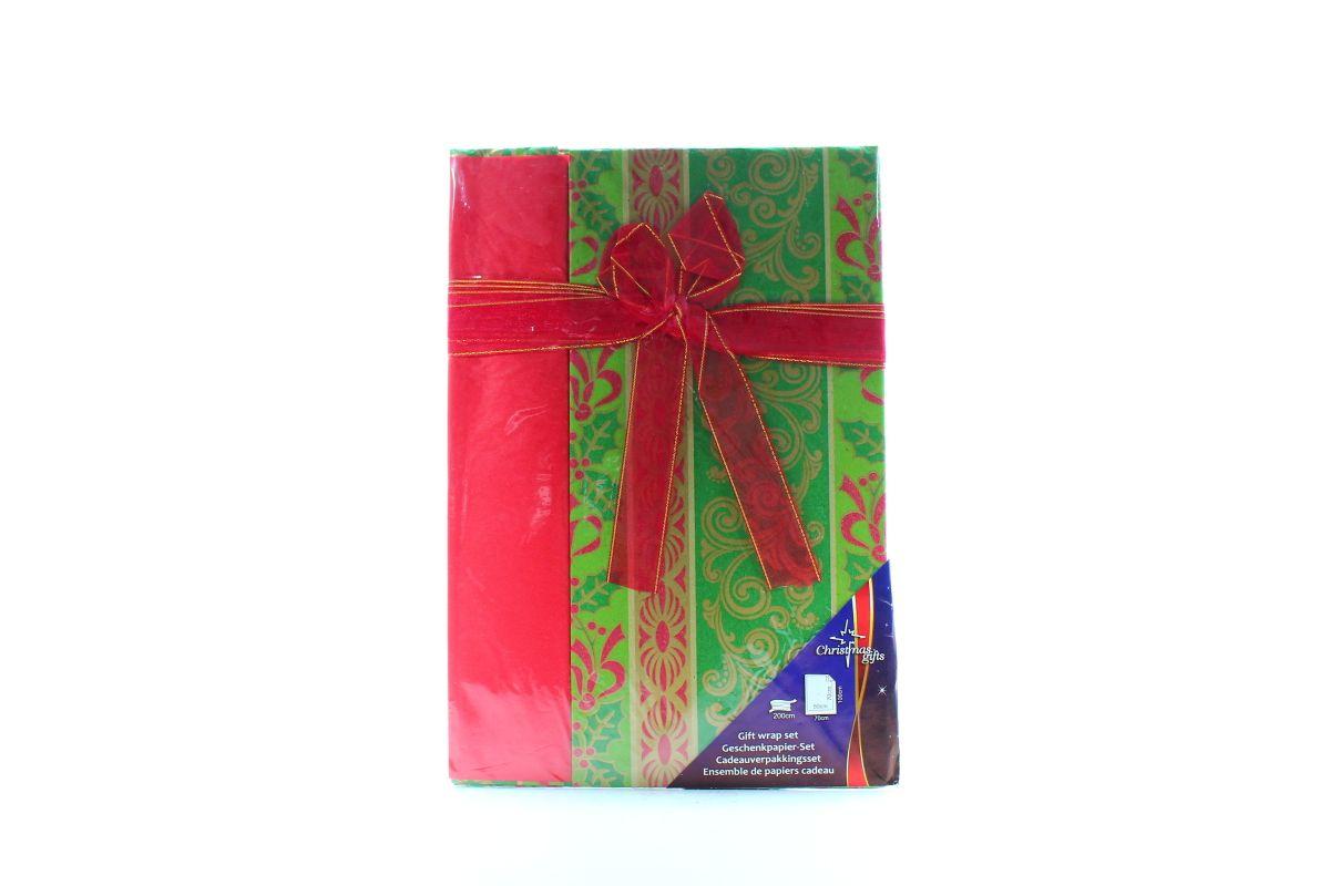 vánoční papír s mašlí - zelený AIE