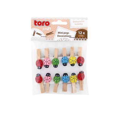 Dekorační kolíčky dřevo 3,5 cm 12ks berušky Toro