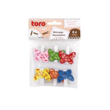 Dekorační kolíčky dřevo 3,5 cm 6ks motýl Toro